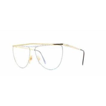 Laura Biagiotti V81 144 Gold Certified Vintage Rectangular Eyeglasses Frame For Womens