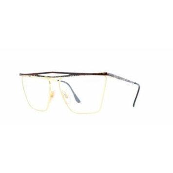 Laura Biagiotti V82 146 Gold Certified Vintage Rectangular Eyeglasses Frame For Womens