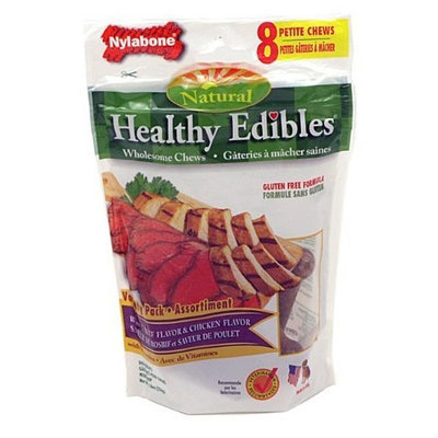 Nylabone Healthy Edibles Chicken and Roast Beef with Vitamins Dog Chew Variety Pack, Petite, 8-Count Pouch