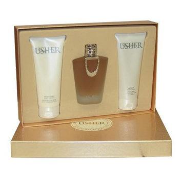 Usher By Usher For Women. Gift Set ( Eau De Parfum Spray 3.4 Oz + Moisture Body Lotion 6.7 Oz + Lather Body Wash 6.7 Oz).