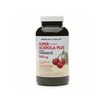 American Health Chewable Super Acerola Plus, Natural Vitamin C 500mg 100 chewable wafers