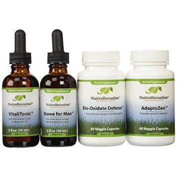 Native Remedies The Power Pack For Men: Adaptozen; Vitalitonic; Bio-oxidate And Ikawe Powerpack (one Of Each) Pack of 4