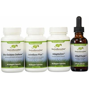 Native Remedies Adaptozen; Vitalitonic; Bio-oxidate And Jointease Plus Superpack (one Of Each), 4 Count
