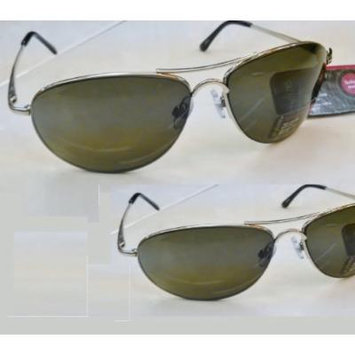 2 Prs Stylize By Foster Grant Bright Silver Aviator Sunglasses W Spring Hinges & Eye Glass Straps