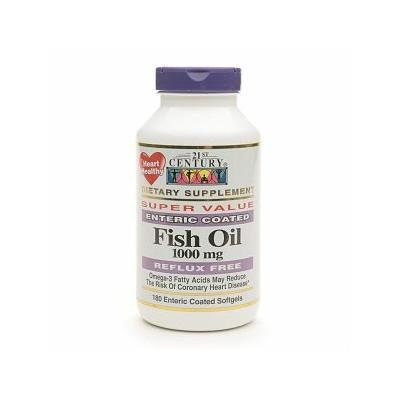 21st Century Enteric Coated Fish Oil 1000mg, Reflux Free 180 Softgels