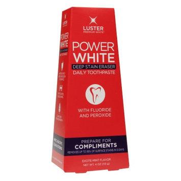 Luster Premium White Power White Deep Stain Eraser Daily Toothpaste, Excite-Mint, 4 oz