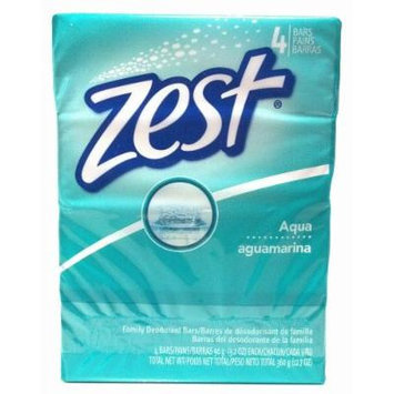 Zest Aqua with Refreshing Scent and Rich Lather 4 Bars Family Deodorant Bars Get Zestfully Clean (1 Pack)