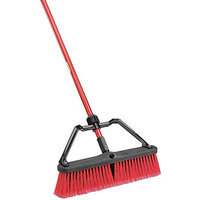 LIBMAN 824 Push Broom w/Handle, Brace, Poly, Red/Black