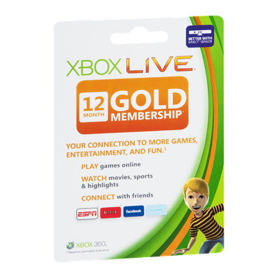 X Box Live 12 Month Gold Membership Gift Card