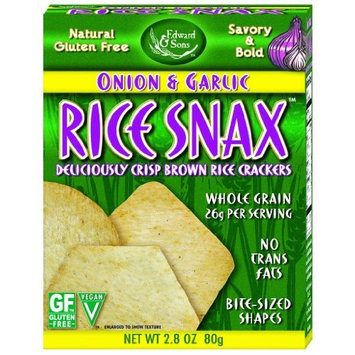 Edward & Sons Rice Snax Onion Garlic, 2.8-Ounce Boxes (Pack of 6)