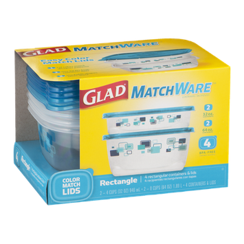 Glad MatchWare Rectangular Containers & Lids - 4 CT