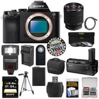 Sony Alpha A7R Digital Camera Body (Black) with 28-70mm Zoom Lens + VG-C1EM Grip + 64GB Card + Case + Battery + Tripod + Flash + Kit