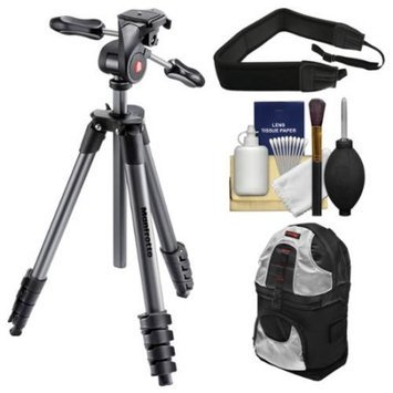 Manfrotto 65 inch Compact Advanced Aluminum Tripod & 3-Way Head with Case (Black) with Backpack + Strap + Kit