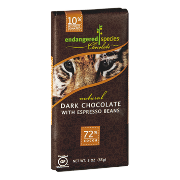 Endangered Species Chocolate Dark Chocolate With Expresso Beans Bar Natural - Tiger