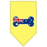 Mirage Pet Products 6609 SMYW Bone Flag Australian Screen Print Bandana Yellow Small