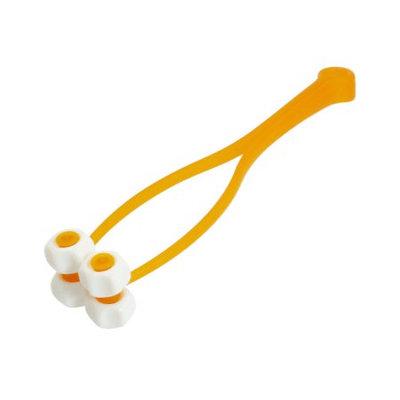 Handheld Y Shaped Orange Floral 4 Roller Face Up Roller Massager