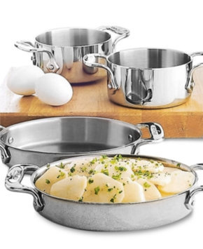 All Clad Set Of Two Soup Ramekins - Stainless Steel Finish
