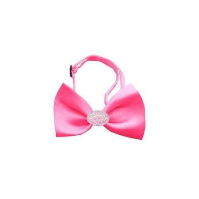 Ahi Light Pink Crystal Oval Hot Pink Bow Tie