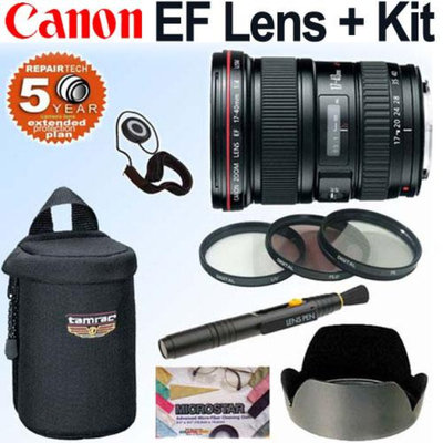 Canon EF 17-40mm f/4L USM Ultra Wide Angle Zoom Lens with Deluxe Accessory Bundl