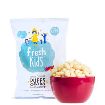 Fresh Kids White Cheddar Puffs Corn & Rice, 4 oz