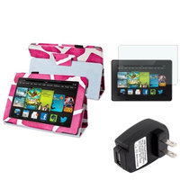 Insten INSTEN Pink Giraffe Leather Case Stand Cover+Protector+Charger For Kindle Fire HD 7 2nd Gen