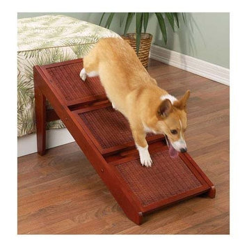 Pet Studio Wood Wicker Cherry RampSteps, 3 Steps