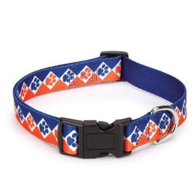 Casual Canine Polyester Collegiate Paws Dog Collar, 14-20-Inch, Blue/Orange