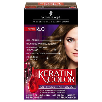 Schwarzkopf Keratin Color Anti - Age Hair Color 6.0 Delicate Praline - 2.03 oz