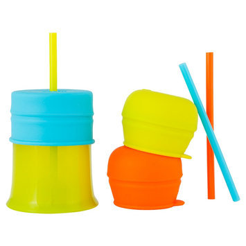 Boon SNUG 3 Pack Straw Lids with Cup - Orange/Green/Blue