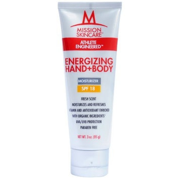 MISSION Skincare Energizing Hand+Body Lotion with SPF 18, 3-Ounce Tube