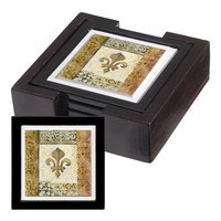 Thirstystone ANRH21-HA44 Absorbent Coaster Set with Coordinating Holder- Fluer de Lis Element