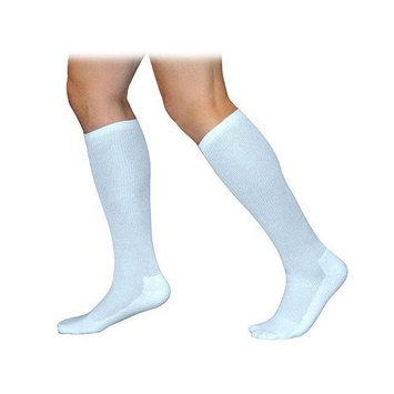 Sigvaris 360 Cushioned Cotton Series 20-30 mmHg Women's Closed Toe Knee High Sock Size: Large Long, Color: White 00