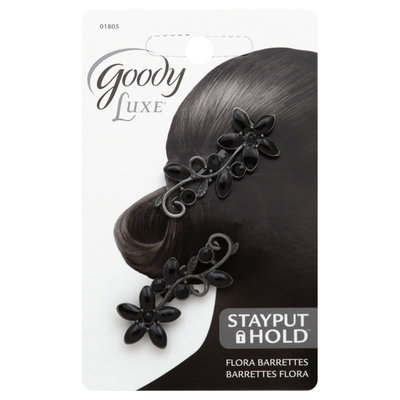 Goody Luxe StayPut Hold Barrettes, Flora, 2 barrettes