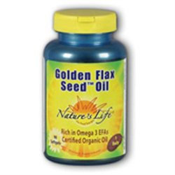 Nature's Life Organic Golden Flax Seed Oil - 180 Softgels - Flax