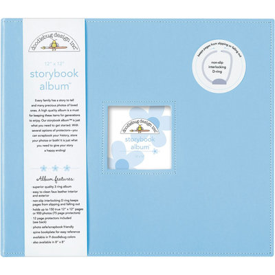 Doodlebug Design 12x12 Storybook Scrapbook Album Baby Blue
