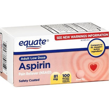 Equate - Aspirin 81 mg, Adult Low Dose, Aspirin Regimen, 100 Coated Tablets, Compare to St. Joseph's