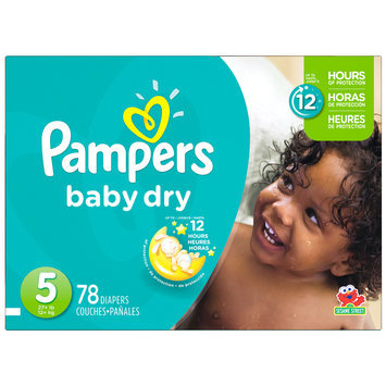 Babies R Us Pampers Diapers Baby Dry Size 5 Super 78 count