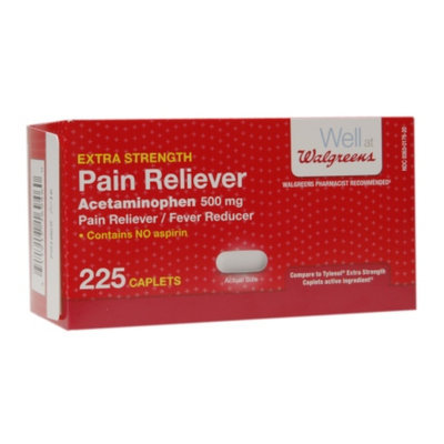 Walgreens Pain Reliever Extra Strength Caplets, 225 ea