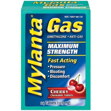 Mylanta Fast-Acting Anti-gas Chewable Tablets, Cherry, 24 Count