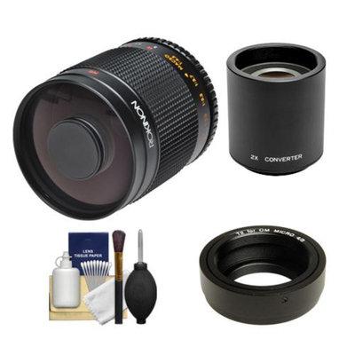 Rokinon 500mm f/8.0 Mirror Lens & 2x Teleconverter (= 1000mm) with Cleaning Kit for Olympus OM-D EM-5, Pen E-P2, E-P3, E-PL2, E-PL3, E-PM1 & Panasonic Micro 4/3 Digital Cameras