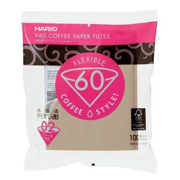 Hario 02 100 Count Coffee Paper Filter, Natural [Natural, Dripper 02]