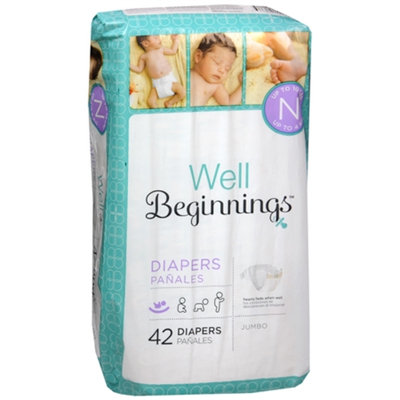 Well Beginnings Premium Diapers Jumbo, Newborn, 42 ea