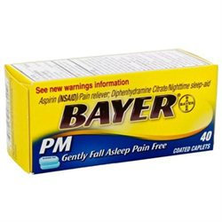 Bayer Aspirin Pain Reliever, PM, Coated Caplets, 40 ea