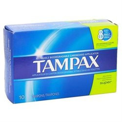 Tampax Super Tampons with Flushable Cardboard Applicator 10 ct
