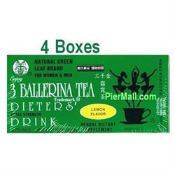 3 Ballerina Tea Extra Strength Dieters Drink (Lemon Flavor) - 18 Tea Bags (4 Boxes)