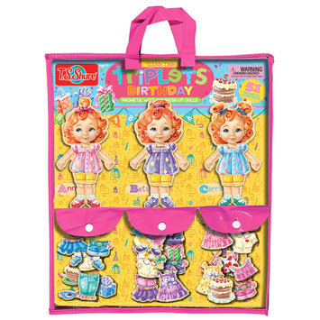 T.s. Shure T.S. Shure Teeny Tiny Triplets Birthday Wooden Magnetic Dress-Up Doll Set