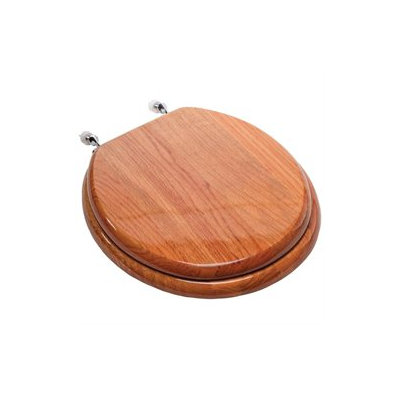 Comfort Seats Designer Solid Round Wood Toilet Seat with Hinges