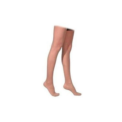 Sigvaris 770 Truly Transparent 20-30 mmHg Women's Closed Toe Thigh High Sock Size: Medium Short, Color: Natural 33