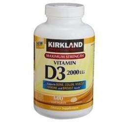 Kirkland Signature Vitamin D3 2000 IU, 600 Softgels