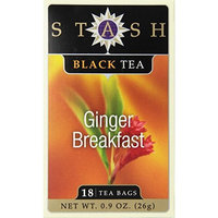Stash Tea Company Stash Tea Ginger Breakfast Black Tea, 18 Count Tea Bags in Foil (Pack of 6)